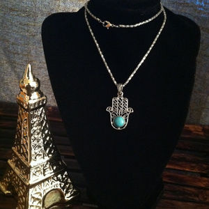 Jewelry - kabbalah Hand Turquoise Necklace Silver Tone